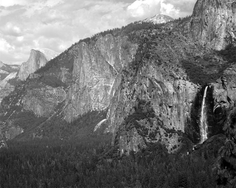 Tunnel View with Half Dome and Falls Black and White.jpg