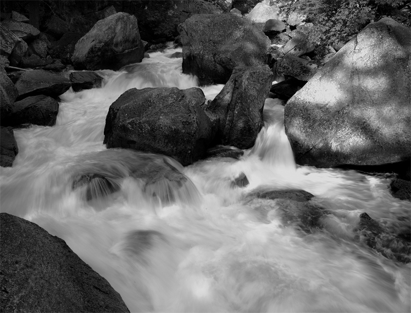 Vernal Falls Water Over the Rocks Black and White.jpg