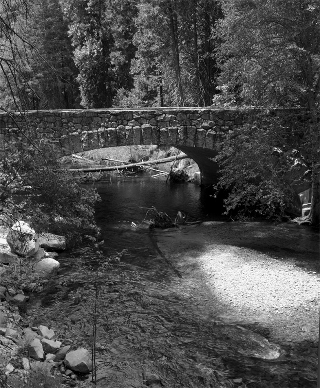 Tenaya River Bridge Black and White.jpg