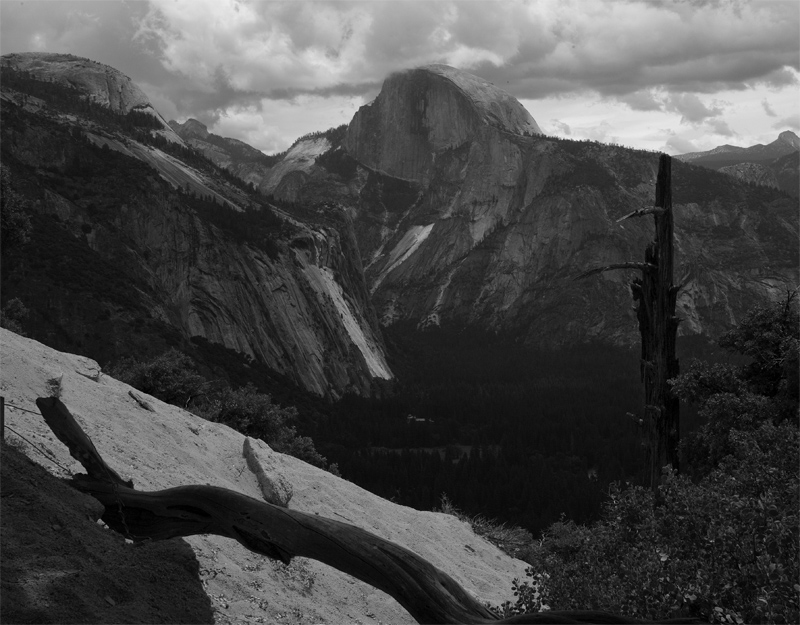 Half Dome from the Upper Falls Trail Black and White.jpg