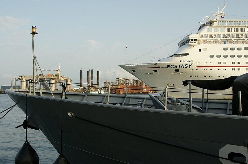 USCG Zephyr With Carnival Cruiseship Ecstasy Behind