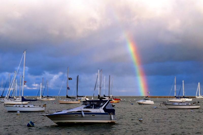 Rainbow in Monroe Harbor, Chicago