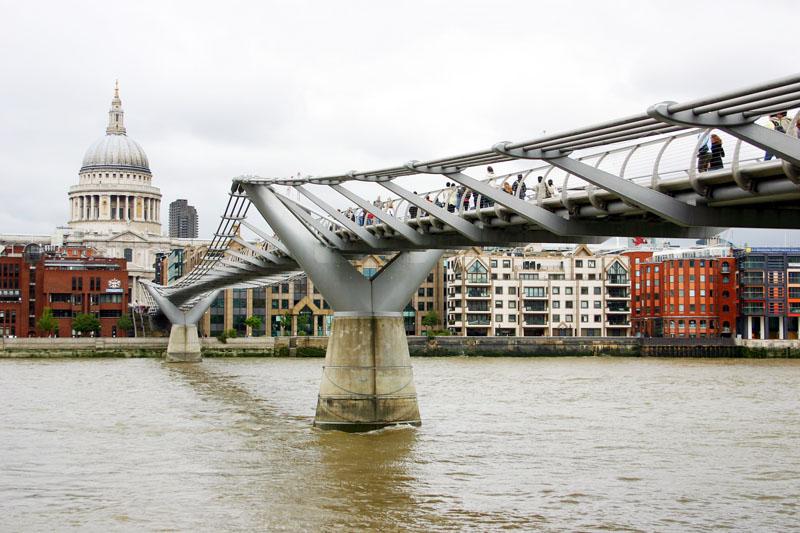 Millennium bridge with St. Pauls Cathedral, London