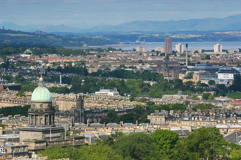 West Register House with Ochil Hills and Firth of Forth, Edinburgh