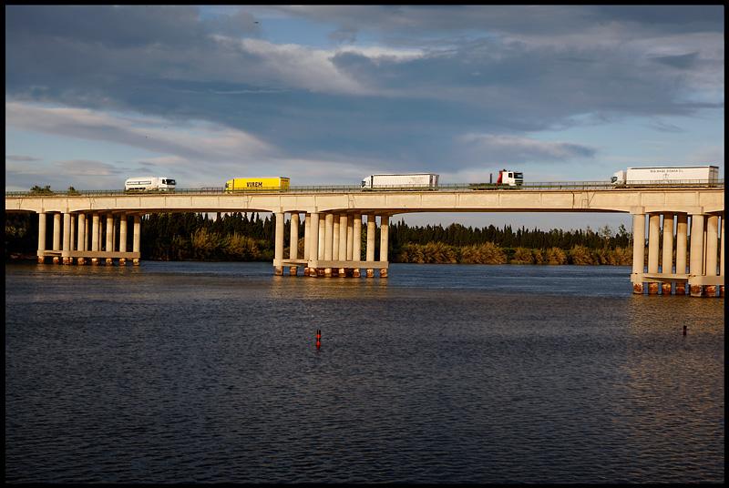 Amposta bridge over river Ebro