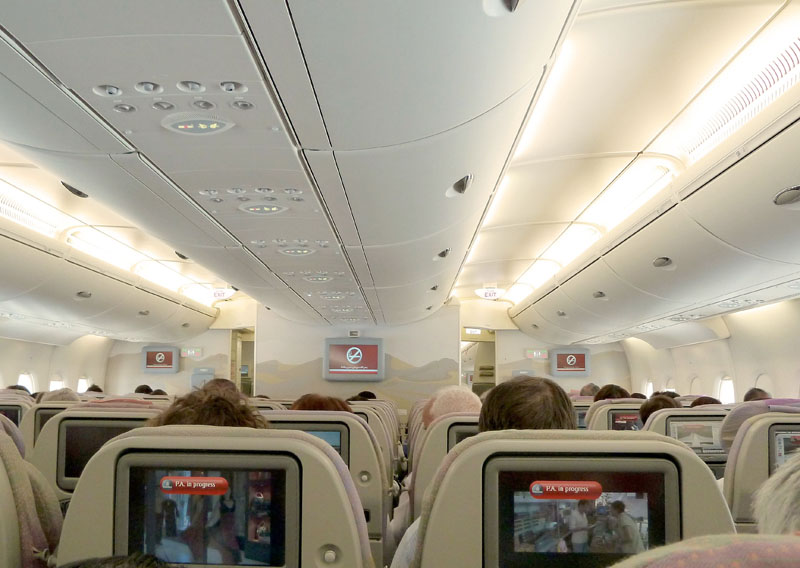 Inside of Airbus Industrie A380-800.