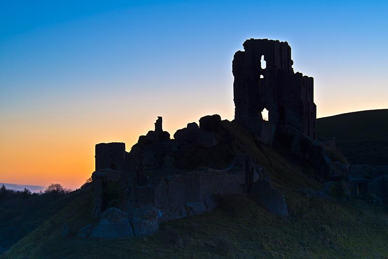 Corfe Castle pre-dawn