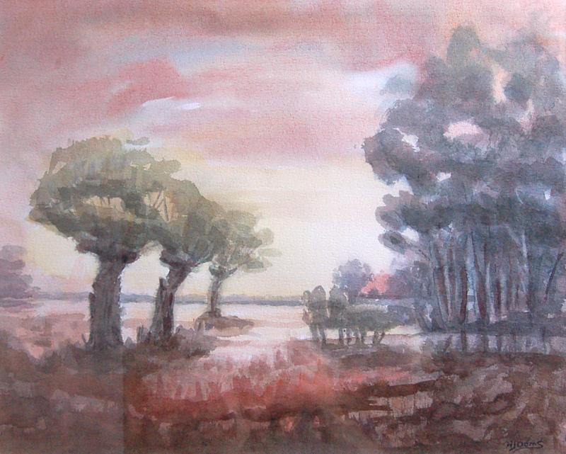 NIET BESCHIKBAAR - Landschap met knotwilgen (aquarel) - 0733.jpg