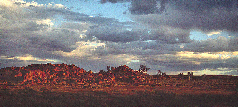 Sunset at Devils Marbles Panorama