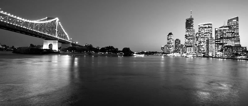 Brisbane and Story Bridge wide angle at night