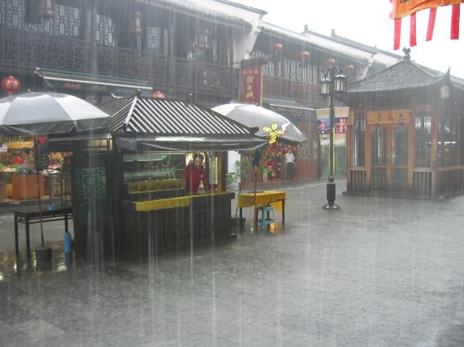 Heavy Raining at HerFun street in Hangzhou City