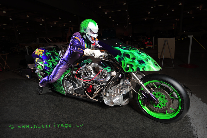 Supercharged, nitromethane fuelled, TOP FUEL Harley!