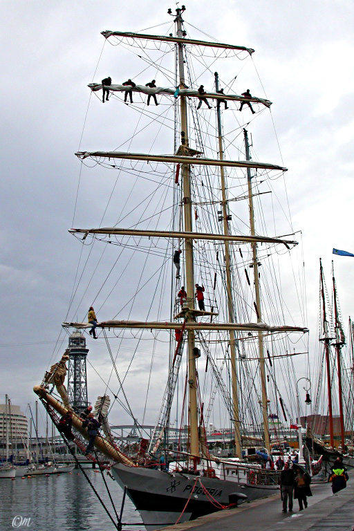 a Polish tallship at the quayside