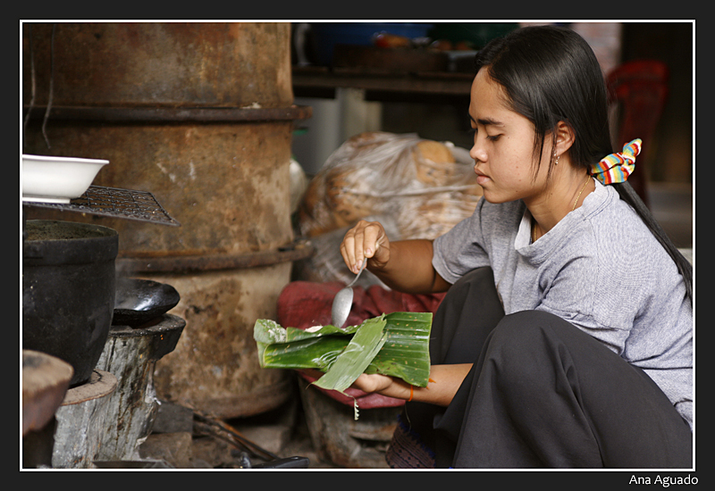 Preparando comida - Champasak