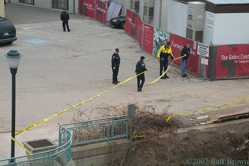 Cordoning off the area