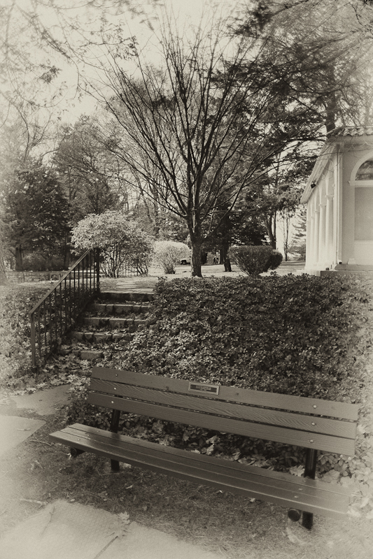 Bench, Stairs and Tea House, Antiquey