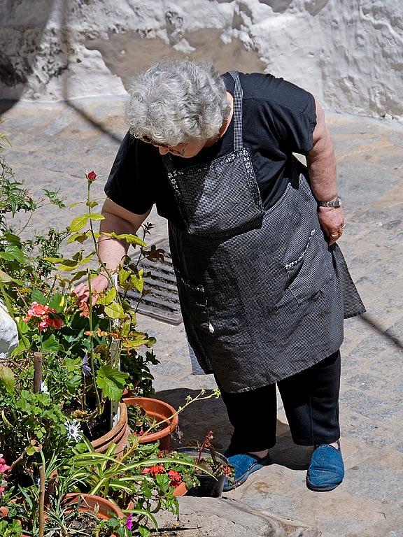 Tending flowers, Casares