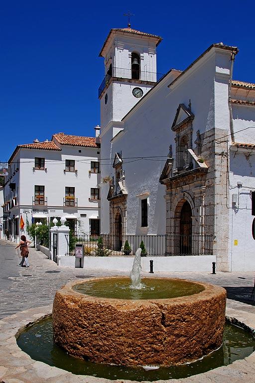 Fountain and church, Grazalema