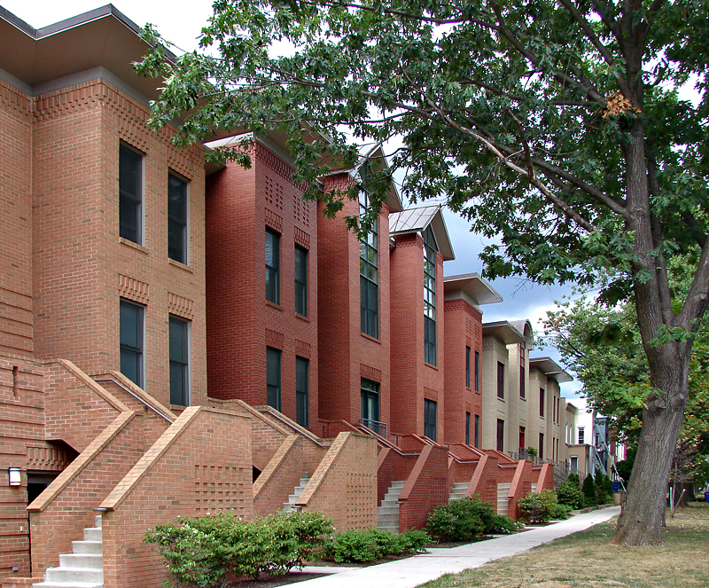 A row of modern-day row houses
