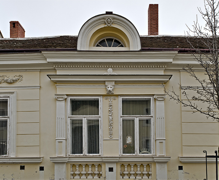 Yellow house with menorah