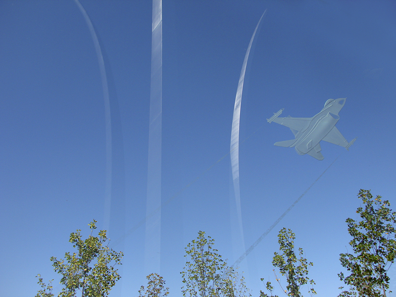 Air Force Memorial, in glass panel
