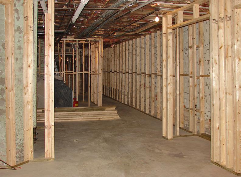 Basement renovation after framing