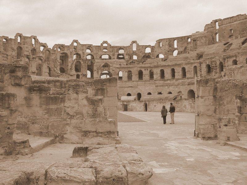 El Djem - Roman amphitheatre - long view of interior (sepia)