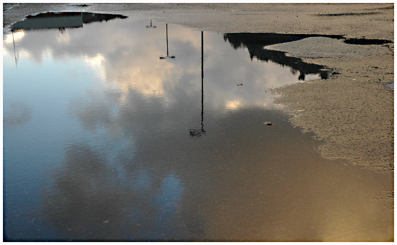 Reflection and lamp posts
