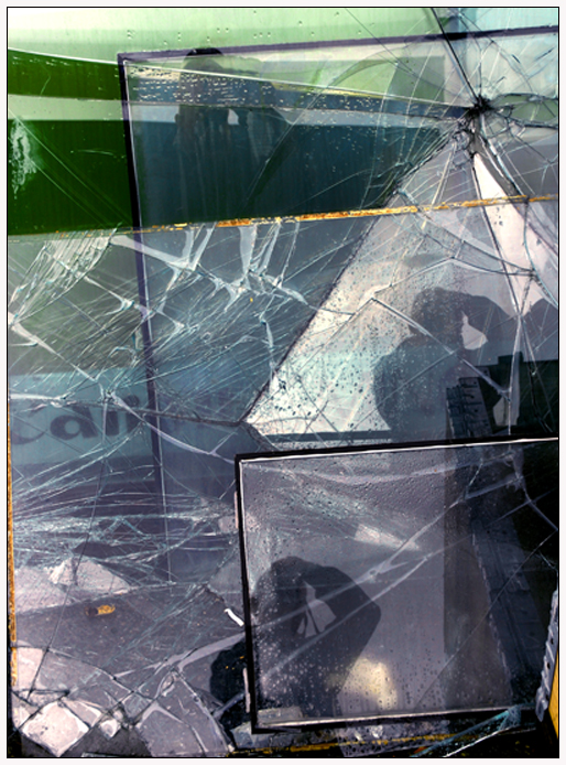 Multiple reflections in shattered glass
