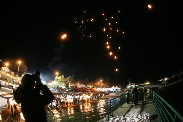Chinese Lanterns Released Over Lake Chelan During  Fire And Ice Fest