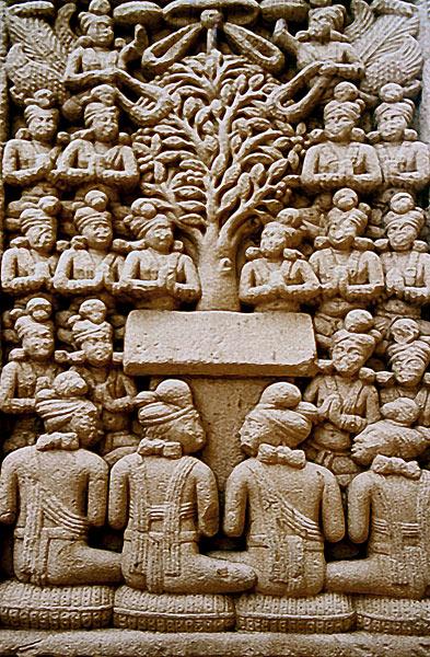 Sanchi. Buddha represented as Bodhi Tree