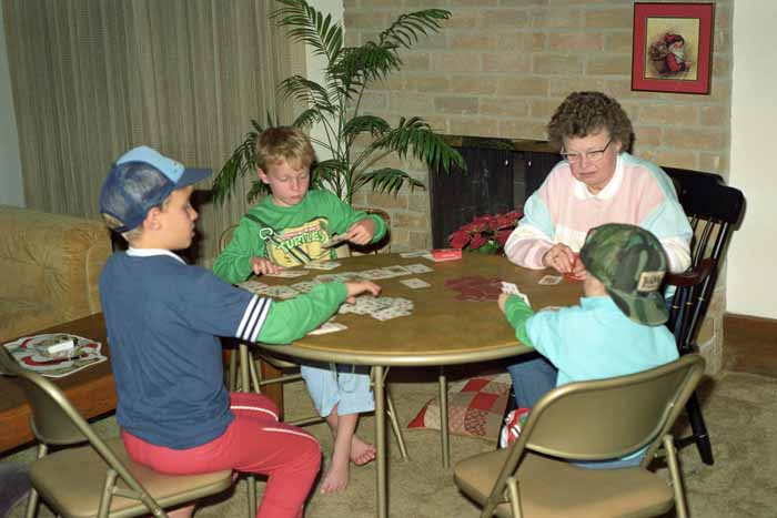 1990, Christmas, Card Game in Progress