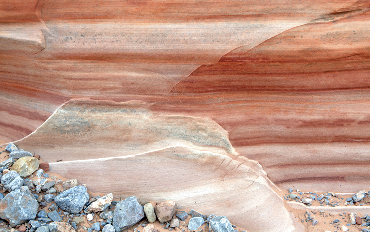 Wall and floor of Pink Canyon, Valley of Fire, NV