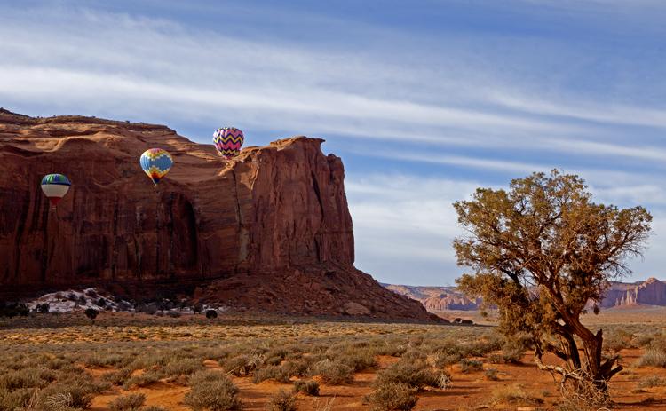 Three Balloons against Rain God Mesa, Monument Valley, Navajo Tribal Park, AZ/UT
