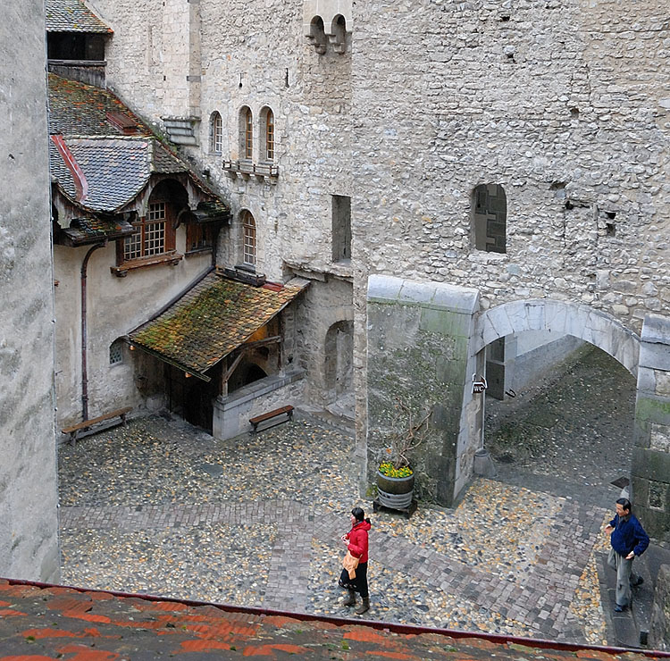 Looking down into the Court Yard