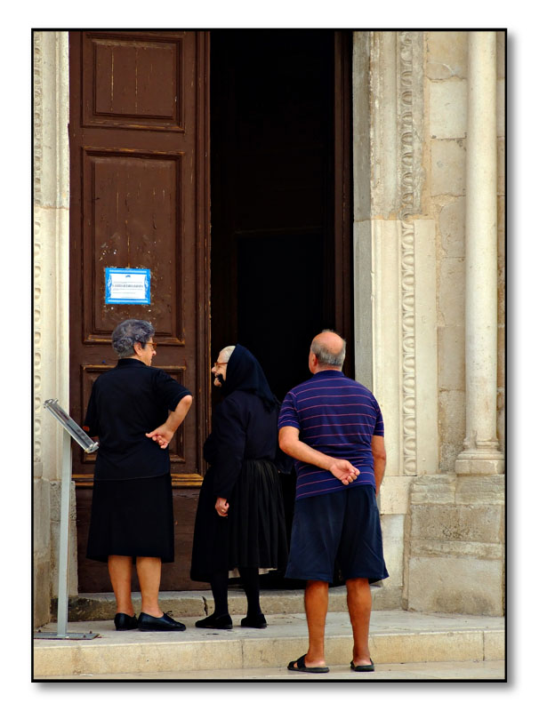chat outside the church