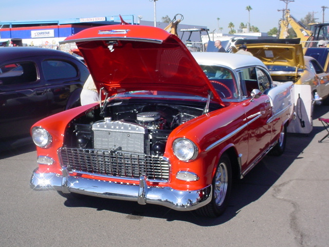 red & White hardtop 1955 Chevy