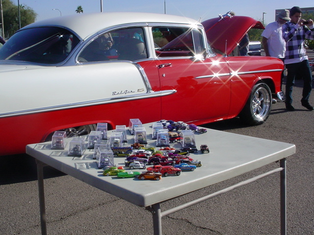 hot wheels at the<br> 55 Chevy car show