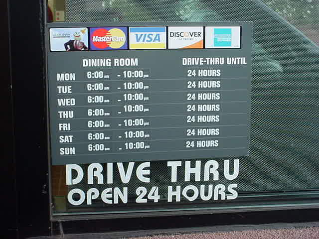 Jack in the box dining room hours