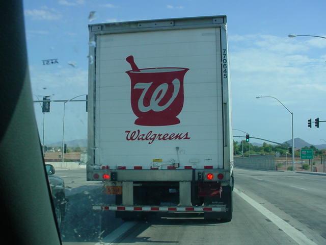 Walgreens truck going north