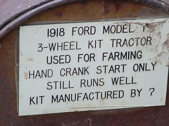 1918 Ford Model T<br>3 wheel kit tractor