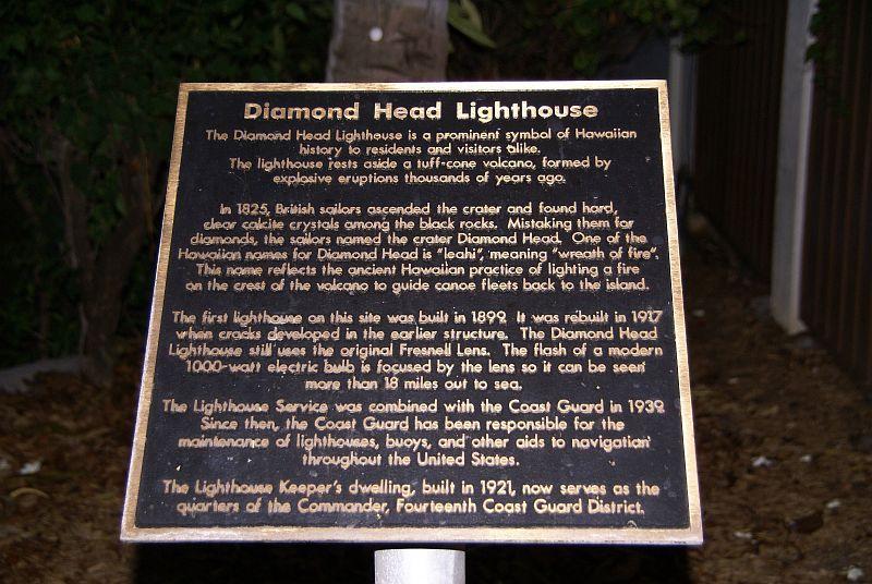 Diamond Head lighthouse plaque