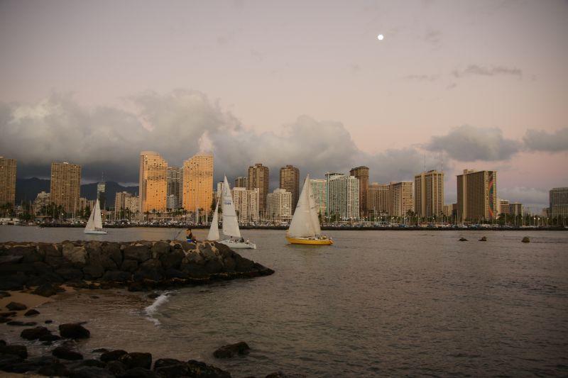 Moon over Waikiki from Magic Island