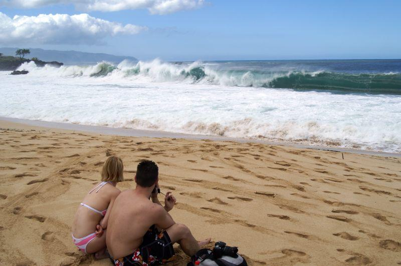 Watching the waves at Waimea Bay