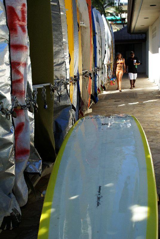 Vertical view surfboard Waikiki