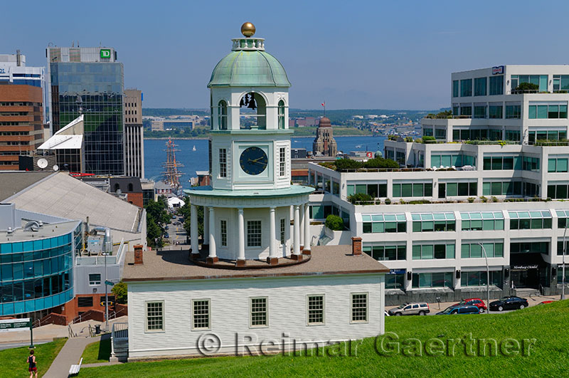 Halifax Historic Old Town Clock and Harbour Nova Scotia Canada