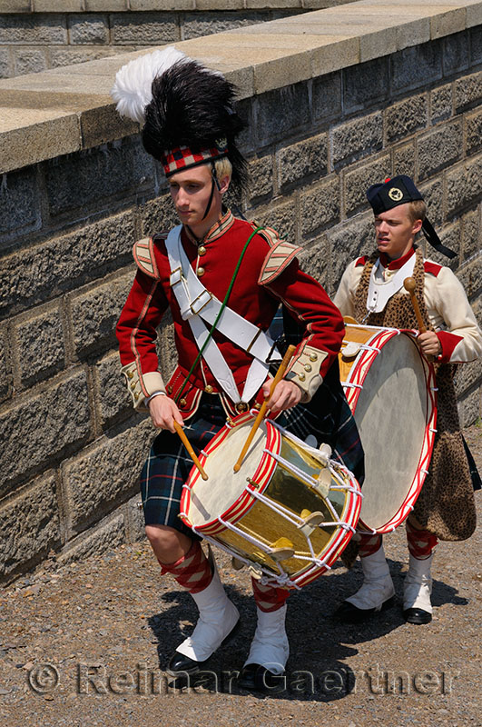 78th Highland drummers marching up a rampart at the Citadel in Halifax Nova Scotia