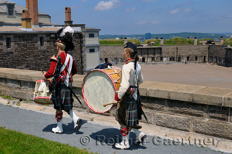 78th Highland drummers marching at the Citadel in Halifax Nova Scotia
