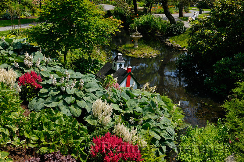 Stream and flowers at the Victorian era Historical Halifax Public Gardens