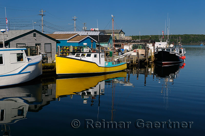 Fishing boats and lobster traps at Fishermans Cove Eastern Passage Halifax Nova Scotia